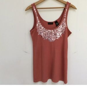 New York and Co. Women's Tank Sequins Salmon
